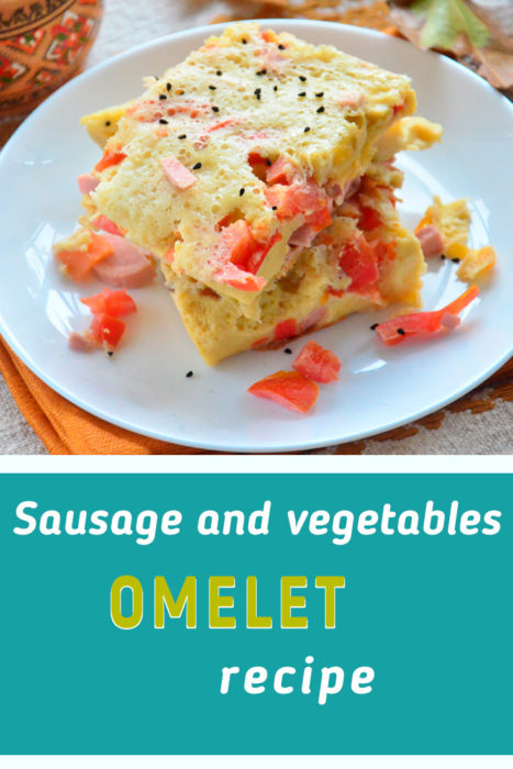 Omelet with sausage and vegetables recipe