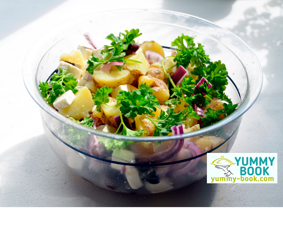 Warm potato salad recipe with feta cheese