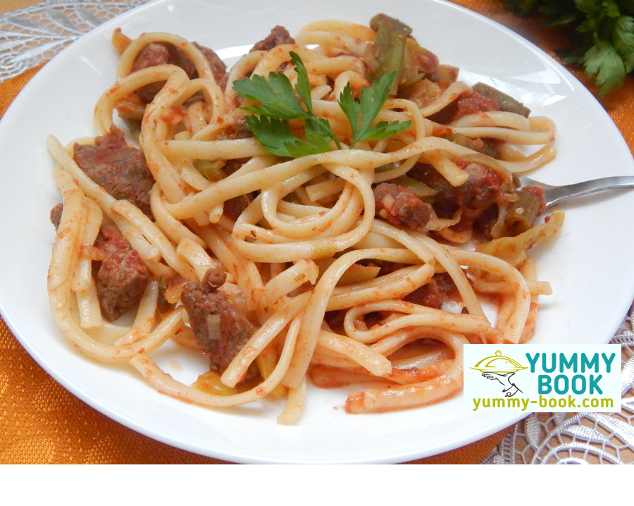 Beef and noodles recipe with green beans