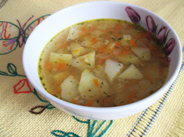 Vegetarian potato soup recipe with garlic