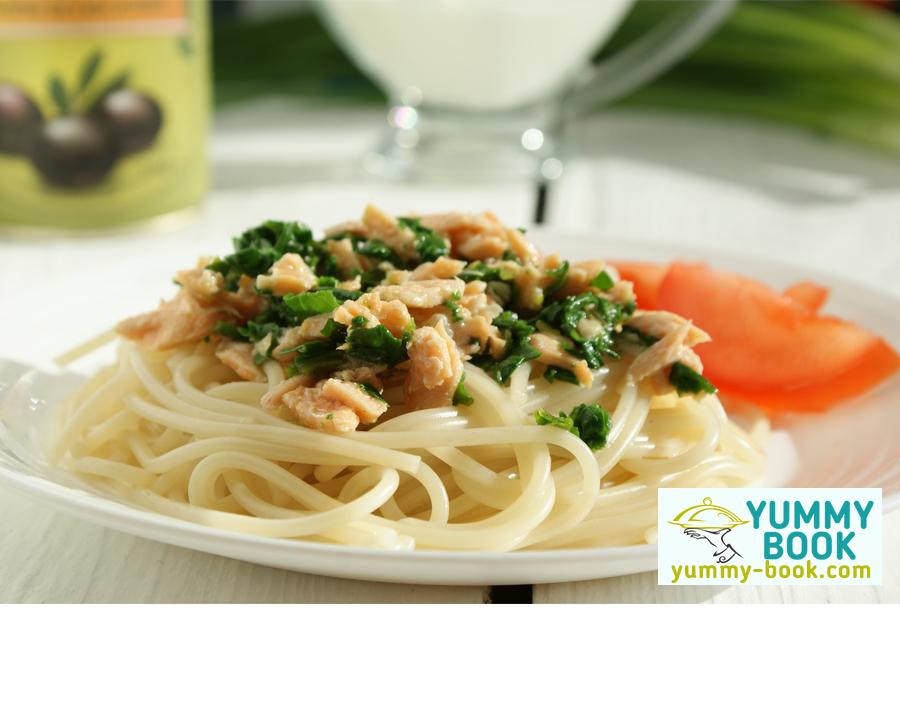 Salmon spaghetti recipe with spinach