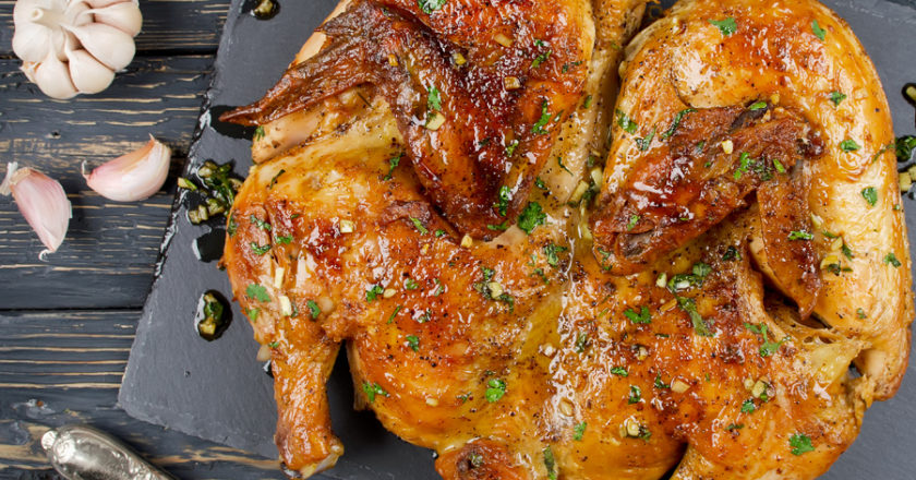 Crispy golden skin chicken tabaca recipe